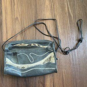 Vintage black navy blue gray tan leather purse